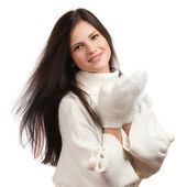 Beautiful woman in warm clothing closeup portrait — Stok fotoğraf