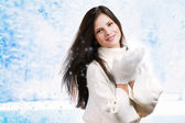 Beautiful woman in warm clothing closeup portrait — Stockfoto