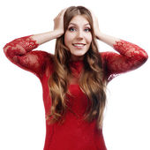 Happy Young Beautiful Woman.Surprised Christmas Girl over white — Stock Photo
