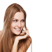 Portrait of pretty young smiling woman with straight long hair — Stock Photo