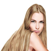 Beautiful Woman with Straight Long blond Hair — Stock Photo