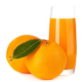 Orange fruit and juice isolated on white background — Stock Photo
