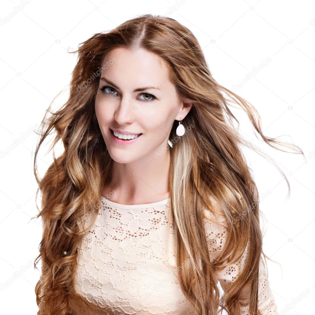 Young brunette woman with long flying hair, studio shot — Stock Photo #12622148