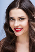 Portrait of sexy brunette with red lips — Stok fotoğraf