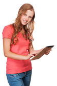 Young beauty student girl with tablet — Stock Photo