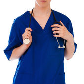 Closeup of female doctor's hand holding stethoscope over white background — Photo