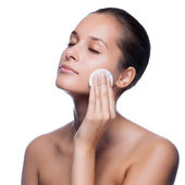 Beautiful Young Woman Touching Her Face.Fresh Healthy Skin.Isola — Stock Photo