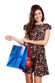 Beauty Woman with Shopping Bags — Stock Photo