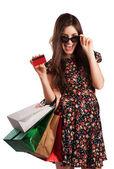 Schoonheid vrouw met shopping tassen — Stockfoto