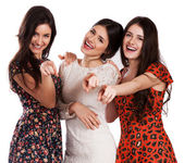Group of happy pretty laughing girls — Stock Photo