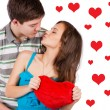 Happy smiling couple in love. Over white background — Stock Photo #40684907