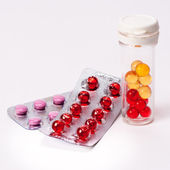 Heap of colorful pills. medical background — Stockfoto
