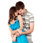 Happy smiling couple in love. Over white background — 图库照片