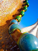 Typical blue ceramic pattern from Park Guell, Barcelona — Foto de Stock