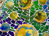 Typical blue ceramic pattern from Park Guell, Barcelona — Stock Photo