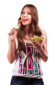 Diet.Beautiful Young Woman Eating Vegetable Salad .Dieting concept.Healthy Food — Stock Photo