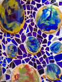 Typical blue ceramic pattern from Park Guell, Barcelona — Stok fotoğraf