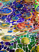 Mosaic wall decorative ornament from ceramic broken tile — Stock Photo