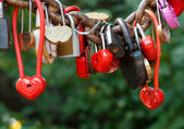 A lot of marriage love locks — Foto Stock