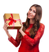 Fashion woman portrait isolated. White background. Happy girl hold shopping bag. Red dress. female beautiful model. — 图库照片