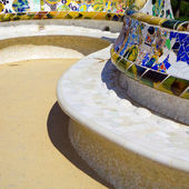 Details of a colorful ceramic bench at Parc Guell designed by Antoni Gaudi, Barcelona, Spain. — Photo