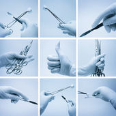 Composition of hands with surgery instruments — Stock Photo