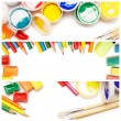 Composition of multicolored drawing instruments — Stock Photo