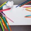Blank sheet of paper with colorful pencils creative process — Stock Photo