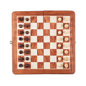 Chess board with figures isolated over white background — Foto de Stock