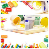 Composition of multicolored drawing instruments on white backgro — Stock Photo