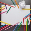 Stock Photo: Blank sheet of paper and colorful pencils creative process