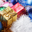 Stock Photo: Gifts and christmas decoration background