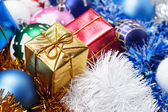 Gifts and christmas decoration background — Stock Photo