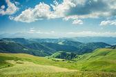 Lato góry zielone trawy i niebieski niebo pejzaż — Zdjęcie stockowe