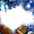 Royalty-Free Stock Photo: Gifts and christmas decoration frame over white background