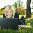 Student girl with laptop studying in park — Stock Photo #16791095