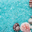 Blue bath salt and seashells — Stock Photo #20532911