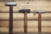 Different hammers on the table — Zdjęcie stockowe