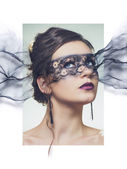 Stylized portrait of young elegant woman with make-up mask — Stockfoto