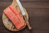 Salted trout on the hardboard — Stock Photo