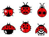 Ladybugs and beetles icons set — Stock Vector