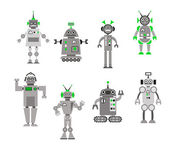 Satz von abstrakten cartoon roboter — Stockvektor