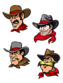 Cartoon cowboys set — Vector de stock