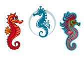 Funny underwater seahorse or hippocampus — Stock Vector