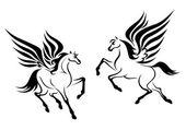 Black pegasus horse with wings — Stockvector