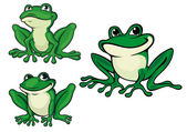 Green cartoon frogs — Stock Vector