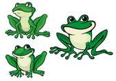 Green cartoon frogs — Stock Vector