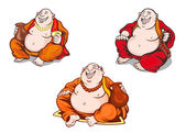 Asian monks set in cartoon style — Stock Vector