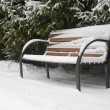 The image of a snow-covered bench — Stock Photo