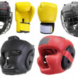 Royalty-Free Stock Photo: Boxing gloves and helmets
